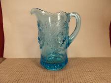 """Vintage Wright Glass Cherry LIght Blue Pattern 46 oz Pitcher 8 1/2"""" T"""
