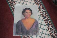 Vintage Pastel Chalk Portrait Drawing Of Black Woman W/Low Cut Blouse-Striking