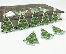 25X Christmas tree Buttons Wooden Sewing Scrapbooking decoration Christmas 35mm