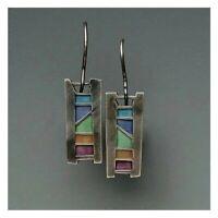 Vintage 925 Silver Multicolor Gemstone Women Earrings Ear Hook Dangle Drop