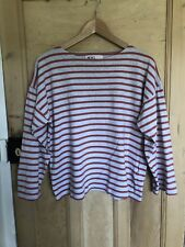 Margaret Howell MHL Striped Nautical Jersey Top T-shirt Boat Neck Size L UK12-14
