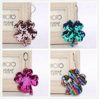 Four Leaf Clover Key Ring Keychain Glitter Pompom Sequins Key Chain Gift Fo C6M2