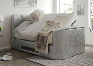 TV Bed Silver Crush Velvet Upholstered Ottoman/Storage 4ft6/5ft - By Time4Sleep