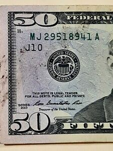$50 INK SMEAR ERROR - 2013 FEDERAL RESERVE NOTE CURRENCY NOTE -