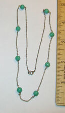 """Antique Art Deco Sterling Silver Peking Glass Green Bead Necklace 18"""""""
