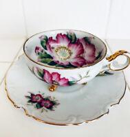 Ucago Japan Vintage Porcelain Tea Cup & Saucer Painted Purple Floral W/Gold Trim