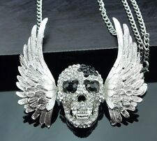 Cute NWT Betsey Johnson Necklace Silver And Black Skull With Wings Goth Biker