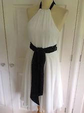COAST stunning ivory & black chiffon halterneck occasion dress -beaded sash UK 8
