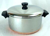 Vtg 4 Qt 1801 Revere Ware Copper Bottom Stock Pot Pan With Lid Clinton Ill USA