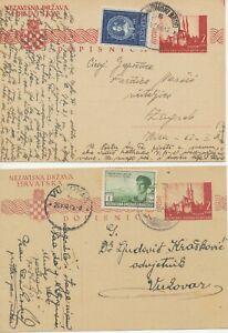 KROATIEN 1943/4 2 Kuna Kathedrale von Zagreb Pra.-GA m. Zusatzfrankatur ABART DD