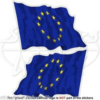 "EUROPE European Union Flying Flag EU 75mm (3"") Vinyl Bumper Stickers Decals x2"