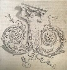 Charles Errard 1620 -1686 Rinceau flanqué d'un ange sortant d'un fleuron 1647