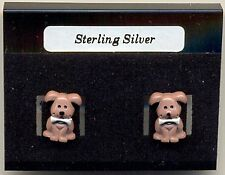 Puppy Dog Sterling Silver 925 Studs Earrings Carded Brown Resin