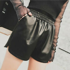 Korean Women Synthetic Leather Short Pants Waist Shorts Wide Leg Hot Pants