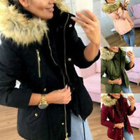 WOMEN LADIES LONG WINTER WARM COAT PADDED QUILTED PARKA JACKET FUR HOODED SUPER