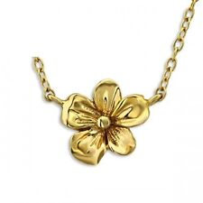 Children's Gold plated flower necklace 925 sterling silver chain & gift bag