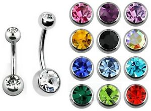 Double Gem Belly Bar - Ball Size: Small or Standard - Bar 6mm 8mm 10mm 12mm 14mm
