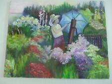 Oil Painting Lady in Flower Garden Lavender Red Unframed Stretched Canvas 11x14""
