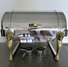 Lion Head Roll Top Chafer, 8-Qt Heavy Weight, 2 Rectange Pans, Catering Buffet