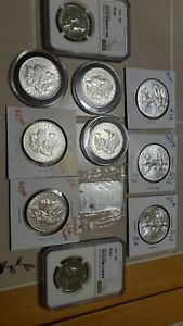 Us coins auction no reserve free shipping Morgan Silver dollars Franklin's.