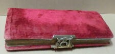 "Vintage Antique Burgundy Velvet Photo Album Victorian Edwardian 15-1/2"" By 7"""
