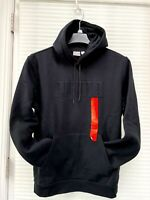 Puma Men's Pullover Fleece Hooded Sweatshirt Embossed PUMA Logo Size M Black NWT