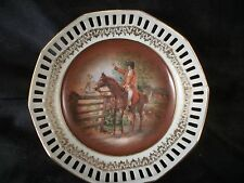 Porcelain dish horse & rider Bavaria Germany numbered gold trim art china plate