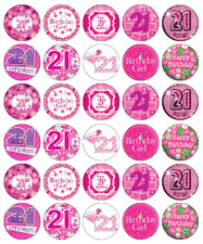 30x 21st Birthday Girl Cupcake Toppers Edible Wafer Paper Fairy Cake Toppers