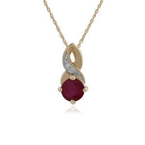 Gemondo Ruby & Diamond Classic Necklace In 9ct Yellow Gold