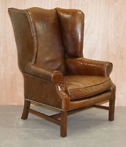 HALO VINTAGE BROWN LEATHER WINGBACK CHAIR WITH STUD DETAIL