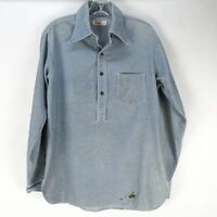 Vintage 70s Levis Corduroy Pullover Shirt Tunic Mens M Blue Thrashed Distressed