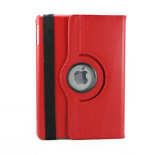 iPad 5 Air Magnet Lock Flip Cover Rotating Leather Case with Swivel Stand -Red