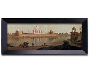 Framed Canvas: 37x14 Panoramic View of Taj Mahal from Across River -Islamic Art