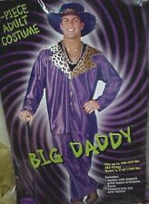 Mens XL Big Daddy 3 Pc Halloween Costume Adult Purple Leopard Pimp Gangster
