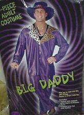 Mens XL Big Daddy 3 Pc Halloween Costume Adult Purple Leopard Pimp Gangster