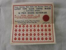 Vintage Punch Board Card distributed by The Sylvan Co.
