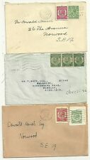 1922/36  3 x LONDON COVERS USED WITH CUTOUTS FOR POSTAGE - OSWALD MARSH STAMPS