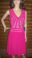 Adrianna Papell V Neck lace hot pink  Dress sz 6 NWT