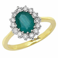 Emerald Cluster Yellow Fine Rings