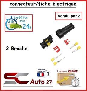 connecteur de fiche électrique pour véhicule 2 branchement vendu par deux