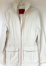 Women's Betty Barclay 34% Cotton Zip DrawString Off White Jacket Coat Size 10/14