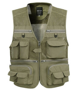 16 Pockets Mens Breathable Mesh Fishing Photography Cargo Vest Waistcoat Jacket