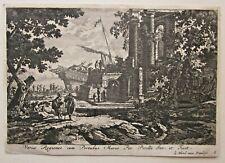 c1650 Jean le Blond Harbour Scene 17thC Antique Print after Gabriel Perelle RARE