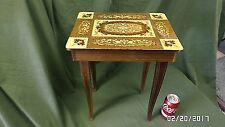 "871D Vtg Italy Inlay 17"" Tall Music Box Wood Table Matthey Swiss Movement Gvc"