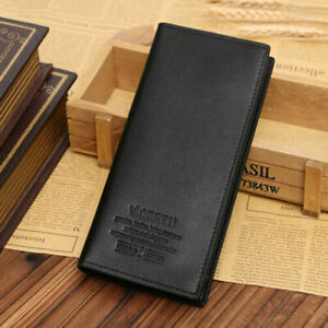 High Quality Men Business Bifold Wallet Long Clutch Leather Purse ID Card Holder