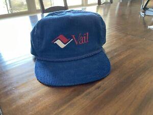 VTG Vail Ski Corduroy Colorado Skiing Snapback Hat 80's  blue