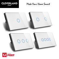 Touch Light Switch 1 2 3 4 GANG Wall Light Switch Glass Panel BLUE LED AU Stock