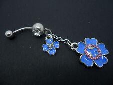 Un Acero Inoxidable Azul Esmalte Flor Ombligo del vientre Bar. Nueva.