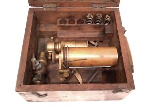ANTIQUE RARE 19TH STEAM ENGINE MANOMETER GAUGE CASED RAILROAD OR SHIP INSTRUMENT