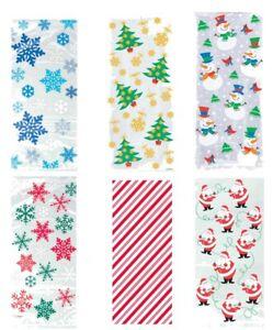 20 Christmas Xmas Festive Cello Cellophane Bags Twist Ties Snowflake Santa Treat